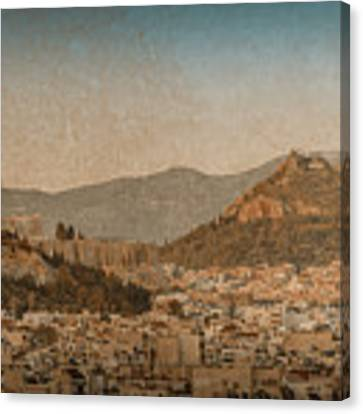 The Acropolis And Lykabettus Hills Canvas Print by Mark Forte