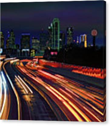 The Road To Dallas - Dallas Skyline - Tom Landry Freeway Canvas Print by Jason Politte