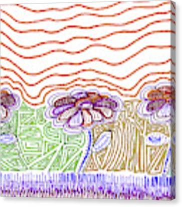 Three Flowers Orange And Purple Canvas Print by Corinne Carroll