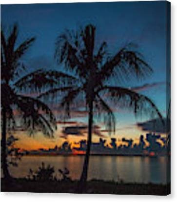 Twin Palms Sunrise Canvas Print by Tom Claud