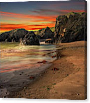 Welsh Coast Sunset Canvas Print by Adrian Evans