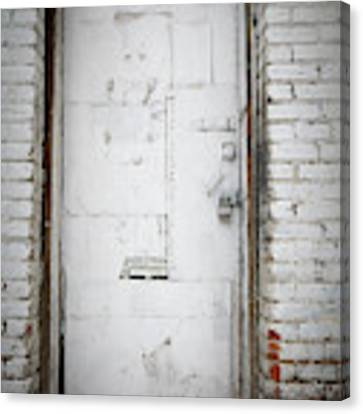 White Steel Factory Door Chinatown Washington Dc Canvas Print by Edward Fielding