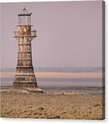 Whiteford Point Lighthouse In Pink Canvas Print by Elliott Coleman