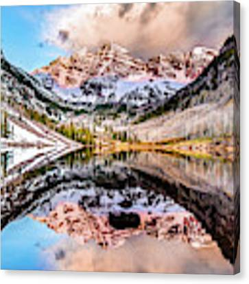 Wide Angle Maroon Bells Panoramic Landscape Canvas Print by Gregory Ballos