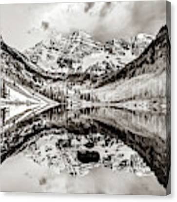 Wide Angle Maroon Bells Panoramic Landscape - Sepia Canvas Print by Gregory Ballos
