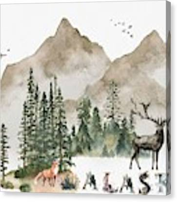 Wild Alaska Travel Poster Canvas Print by Celestial Images
