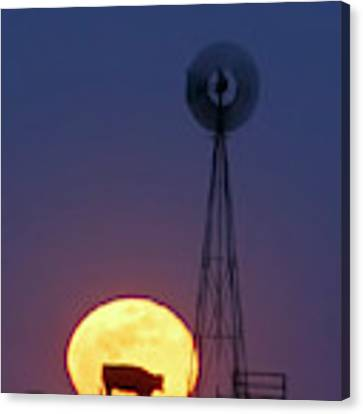 Windmill And Moon 01 Canvas Print by Rob Graham