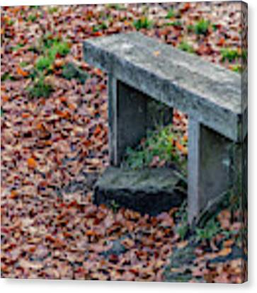 Wooden Autumn Bench Canvas Print by Scott Lyons