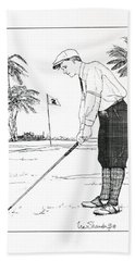 Bath Towel featuring the drawing  1920's Vintage Golfer by Ira Shander
