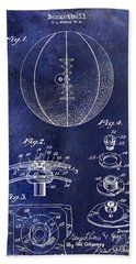 1927 Basketball Patent Drawing Blue Hand Towel