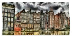 Bath Towel featuring the painting  Amsterdam Water Canals by Georgi Dimitrov