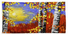 Birch Trees In Fall Panorama Painting Hand Towel