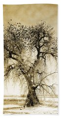 Bird Tree Fine Art  Mono Tone And Textured Hand Towel