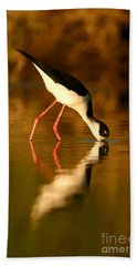 Bath Towel featuring the photograph  Black-necked Stilt Reflection by John F Tsumas