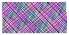 Blue Purple Orange And White Plaid Design Background Bath Towel by Keith Webber Jr