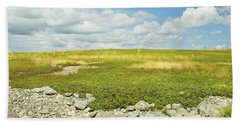 Blueberry Field With Blue Sky And Clouds In Maine Bath Towel by Keith Webber Jr