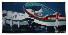 Boats Bath Towel by Andrew Drozdowicz