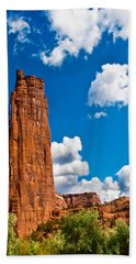 Canyon De Chelly Spider Rock Hand Towel by Bob and Nadine Johnston