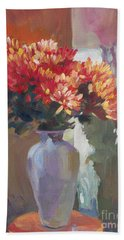 Chrysanthemums In Vase Hand Towel