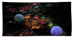 Digital Fractal Spheres - Psychedelic Digital Image - Modern Art Bath Towel