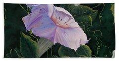 First  Trumpet Flower  Of Summer Bath Towel by Sharon Duguay