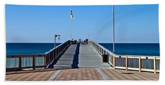 Fishing Pier Hand Towel by Susan Leggett