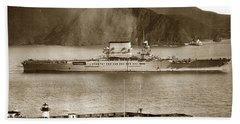 U. S. S. Lexington Cv-2 Fort Point Golden Gate San Francisco Bay California 1928 Bath Towel