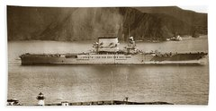 U. S. S. Lexington Cv-2 Fort Point Golden Gate San Francisco Bay California 1928 Bath Towel