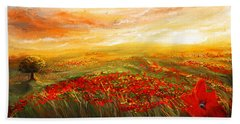 Glowing Rhapsody - Poppies Impressionist Paintings Hand Towel