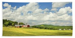 Hay Harvesting In Field Near Red Barn Maine Photograph Bath Towel