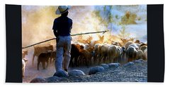 Herder Going Home In Mexico Hand Towel by Phyllis Kaltenbach