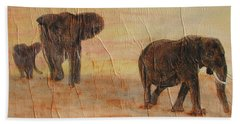 Bath Towel featuring the painting  Hey Wait For Us by Stephanie Grant