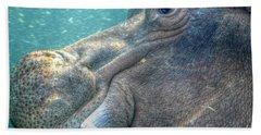 Hippopotamus Smiling Underwater  Hand Towel