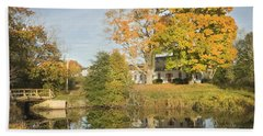House Reflection In Pond Bristol Maine Bath Towel