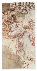 Illustration For A Fairy Tale Fairy Queen Covering A Child With Blossom Hand Towel