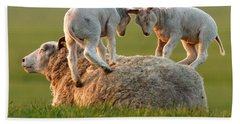 Leap Sheeping Lambs Hand Towel by Roeselien Raimond