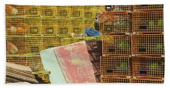 Lobster Traps And Dinghy On Coast In Maine Hand Towel