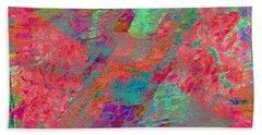 Hand Towel featuring the digital art  Magenta Poppy Rock by Stephanie Grant