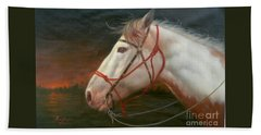 Original Animal Oil Painting Art-horse#16-2-5-21 Bath Towel