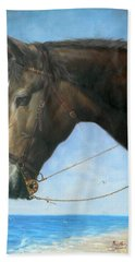 Original Animal Oil Painting Art-horse-04 Hand Towel by Hongtao     Huang