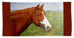 Original Animal Oil Painting Art-horse-06 Hand Towel by Hongtao     Huang