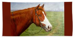 Original Animal Oil Painting Art-horse-06 Bath Towel