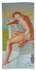 Original Classic Oil Painting Man Body Art  Male Nude And Vase #16-2-4-09 Hand Towel