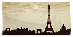 Paris Under Moonlight Silhouette France Hand Towel