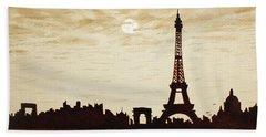 Paris Under Moonlight Silhouette France Bath Towel