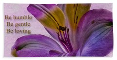 Peruvian Lily With Scripture Bath Towel