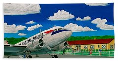 Portsmouth Ohio Airport And Lake Central Airlines Hand Towel by Frank Hunter