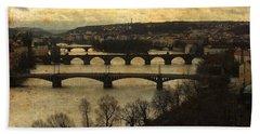 Vintage Prague Vltava River Hand Towel