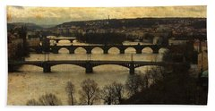 Vintage Prague Vltava River Bath Towel