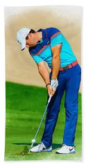 Rory Mcilroy Plays His Second Shot On The Par 4 Hand Towel
